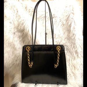 Salvatore Ferragamo Black Leather Chain Hand Bag